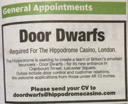 London kasino hyrer dværge som security