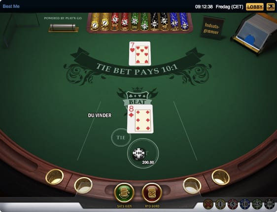 Beat Me er en casinoversion af det klassiske kortspil Krig