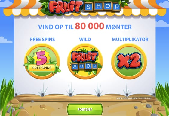 Få 10 free spins på Fruit Shop