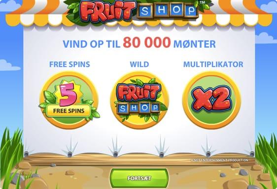 Få 10 free spins på Fruit Shop