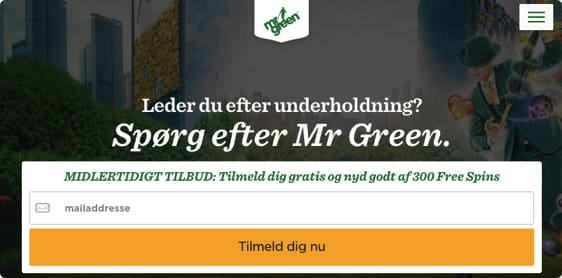 Mr Green er åbnet i Danmark. Få 300 free spins uden bonuskode