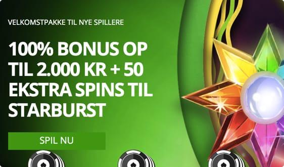 Ny bonus hos Casino Luck: 2000 kr. bonus og 50 free spins på Starburst