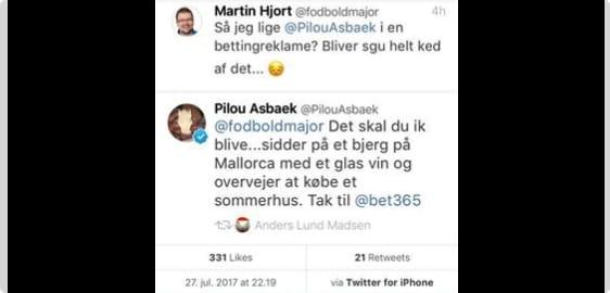 Pilou Asbæk Twitter kommentar