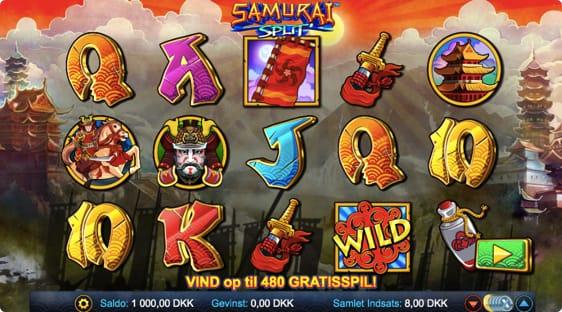 Samurai Split spillemaskine med gratis spins funktion