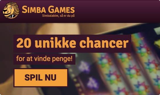 20 gratis cahncer til alle nye kunder hos Simba Games DK