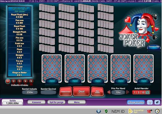 Joker Poker hos Dansk777
