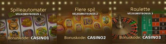 Nye casinokunder kan bl.a. få op til 1.000 i velkomstbonus